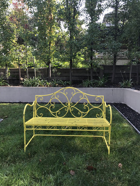 GARDEN BENCH YELLOW 108x48x94cm