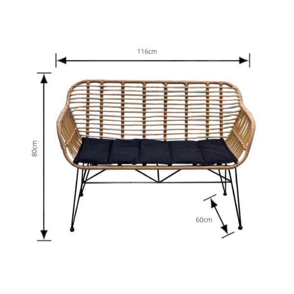 Isla bench made from poly rattan (PU/plastic & metal bench seat) shown with dimensions