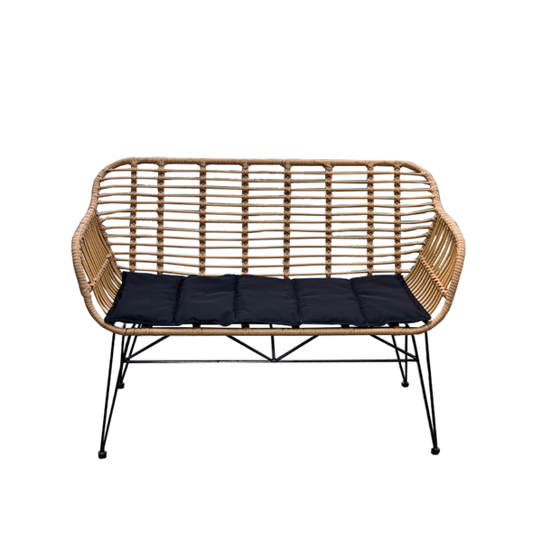 Isla bench made from poly rattan (PU/plastic & metal bench seat) with black cushion