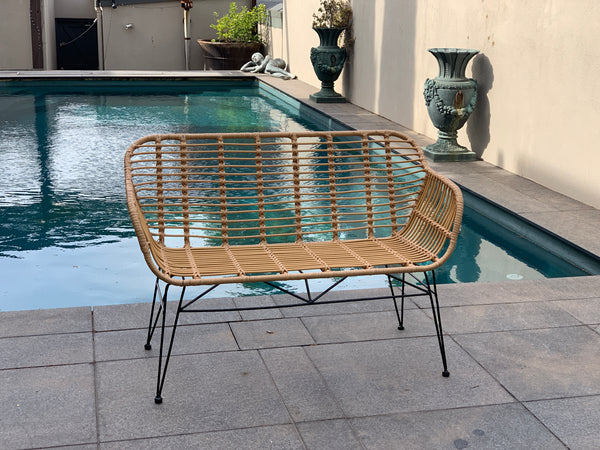 Isla bench made from poly rattan (PU/plastic & metal bench seat) shown with no cushion