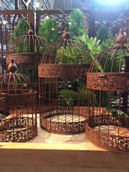 Bird Cages Round Set 4 Rust