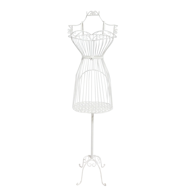 Bust Stand Cream Mannequin Metal Clothes Stand Cage Planter Jewellery Display Home Garden Decor 38x30x155cm