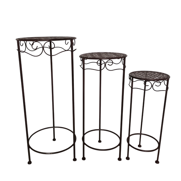 Set of 3, Metal Side Tables, Round - Brown