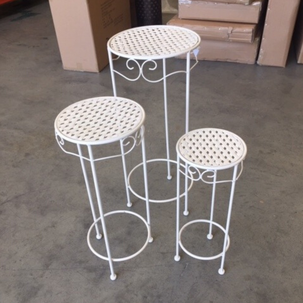 Set of 3, Metal Side Tables, Round - Cream