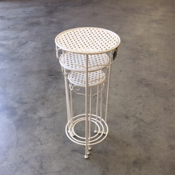 Set of 3, Metal Side Tables, Round - Cream stacked into eachother