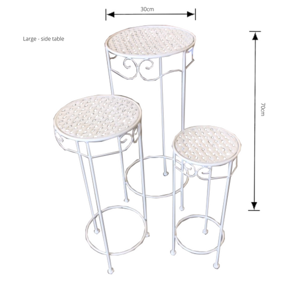 Set of 3, Metal Side Tables, Round - Cream with dimensions - large