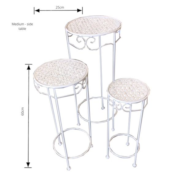 Set of 3, Metal Side Tables, Round - Cream with dimensions - medium