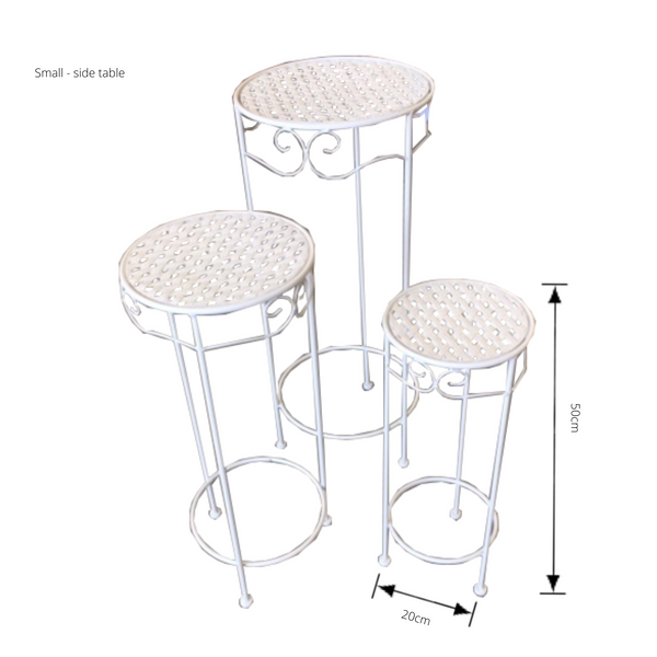 Set of 3, Metal Side Tables, Round - Cream with dimensions - small