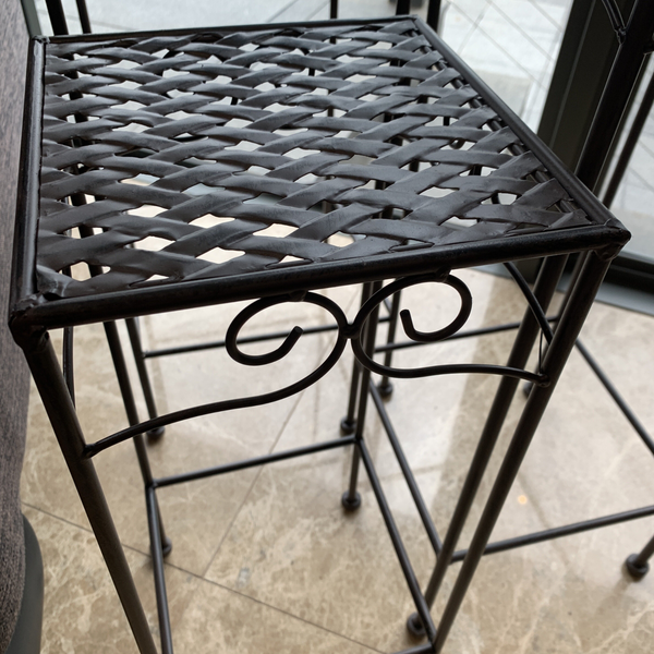 Set of 3, Metal Side Tables, Square - Brown up close detail