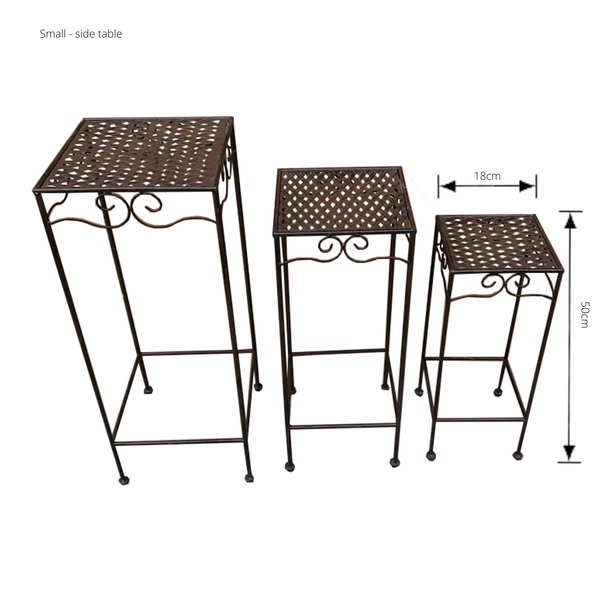Set of 3, Metal Side Tables, Square - Brown with dimensions - Small