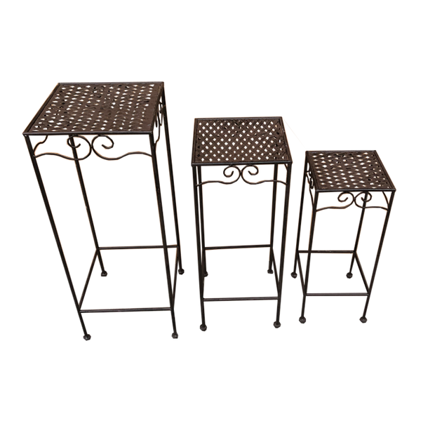 Set of 3, Metal Side Tables, Square - Brown