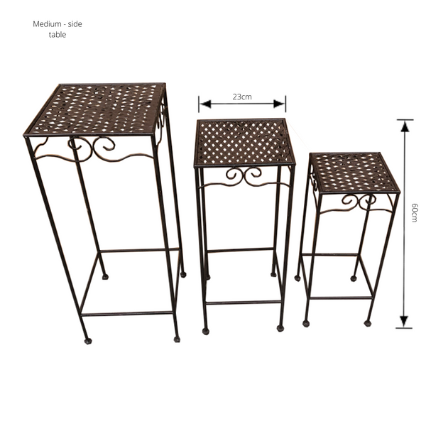 Set of 3, Metal Side Tables, Square - Brown with dimensions - medium