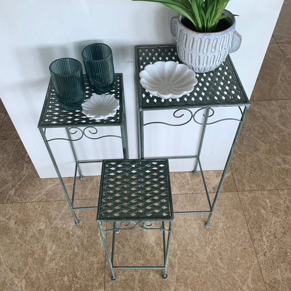 Set of 3, Metal Side Tables, Square - Verdi with plants and key dishes