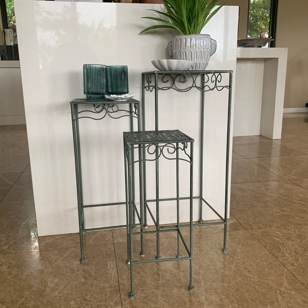 Set of 3, Metal Side Tables, Square - Verdi side view showing the different sizes