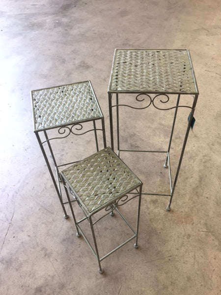 Set of 3, Metal Side Tables, Square - Verdi