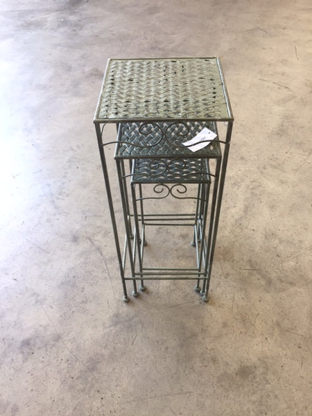 Set of 3, Metal Side Tables, Square - Verdi all stacked into eachother