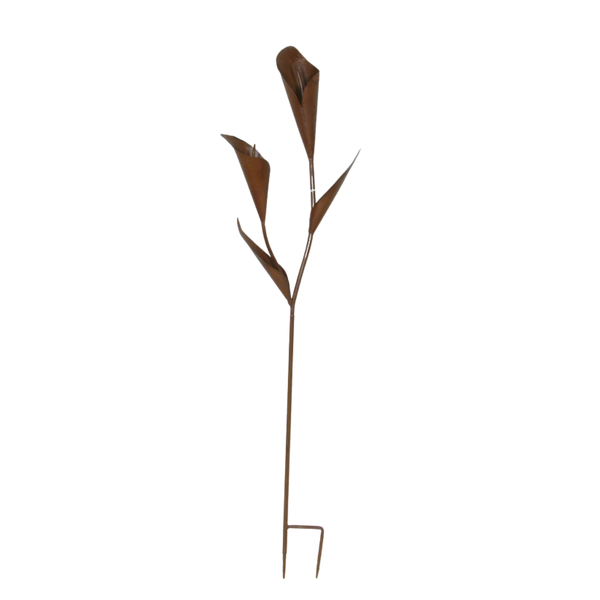 SET 2 Stake Flower Trumpet Lily  Sculpture Spike Rustic Home Garden Decor 40x11x154cm