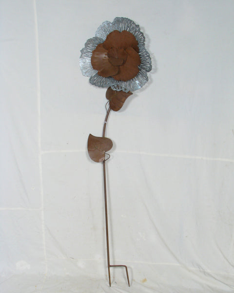 Stake Large Metal Rustic Flower Sculpture Spike Home Garden Decor 46x13x171cm