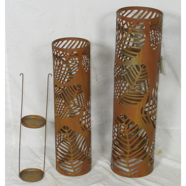 Candle Holder, Metal Lantern Rustic Laser cut Set of 2