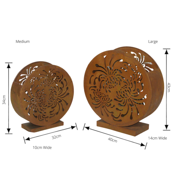 Candle Holder Round Metal Lantern Rustic Laser cut Decorative Home Garden Decor Set 2