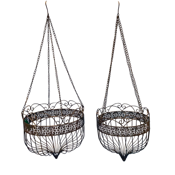 Hanging Planter Basket Metal Darkest Brown Indoor Outdoor Set 2 L38X38X36-106 M33X33X35-105cm