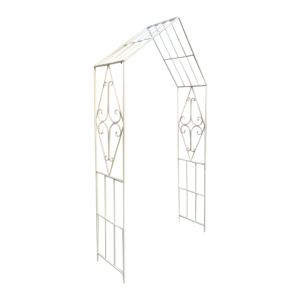 Metal garden arch in cream