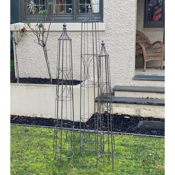 Set of 3 Metal Plant Cage Obelisk Round Stake Trellis Climbing Dome Finial