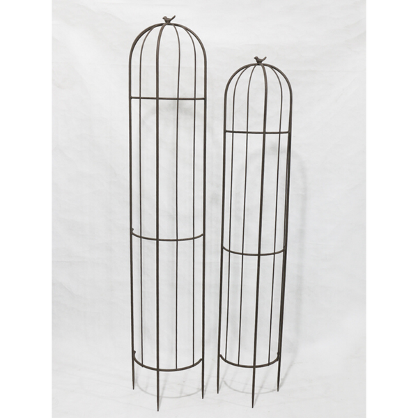 Set of 2, Half Wall Plant Cage Obelisk Stake Trellis Climbing Dome Finial photo taken on white screen