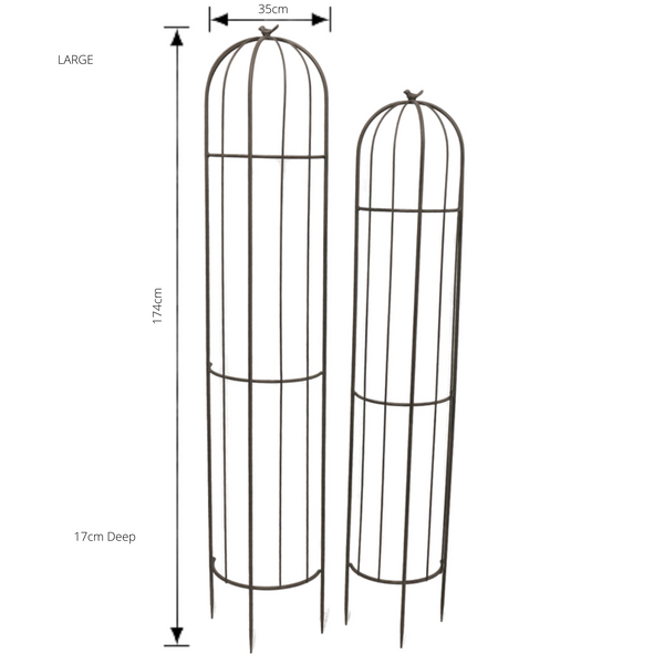 Set of 2, Half Wall Plant Cage Obelisk Stake Trellis Climbing Dome Finial with dimensions for large