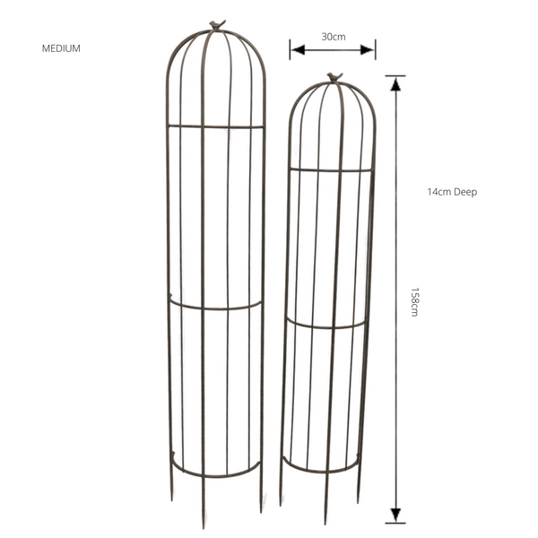 Set of 2, Half Wall Plant Cage Obelisk Stake Trellis Climbing Dome Finial with dimensions for smallr