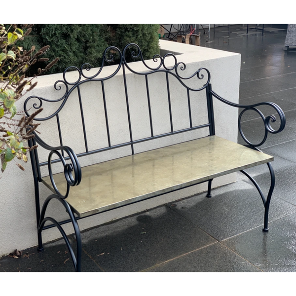 Outdoor Jazz garden bench, made from metal in black finish