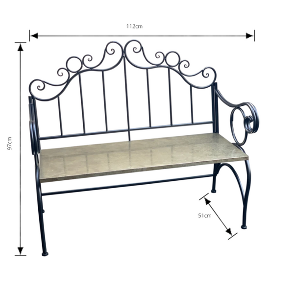 Outdoor Jazz garden bench, made from metal in black finish with dimensions