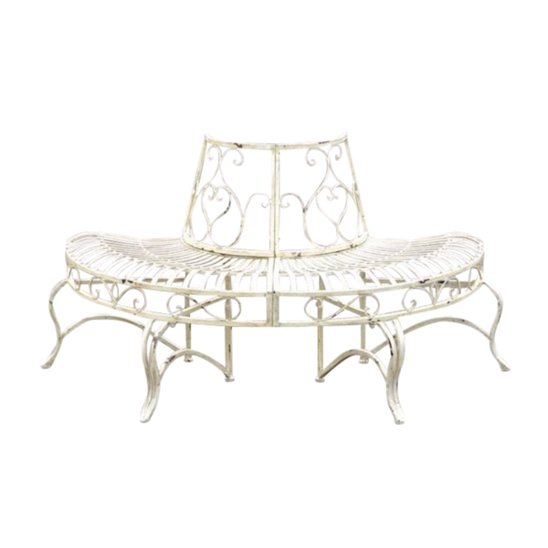 Tree surround half, with bench, in distressed white finish, made from sturdy metal