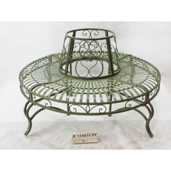 Tree surround with bench seat in distressed green & rust finish, made from sturdy metal