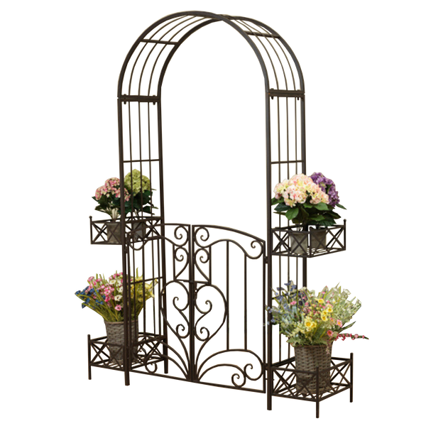 Arch Metal with Gate and Planters in rustic Brown