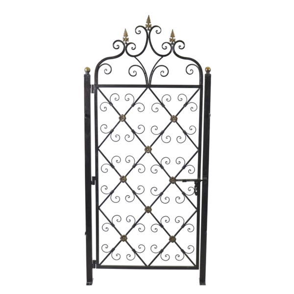 Garden Gate, Metal Decorative Ornamental Single with Posts