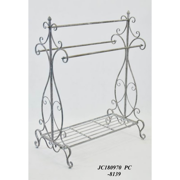 Towel Rack Holder Metal in Antique Grey Wash