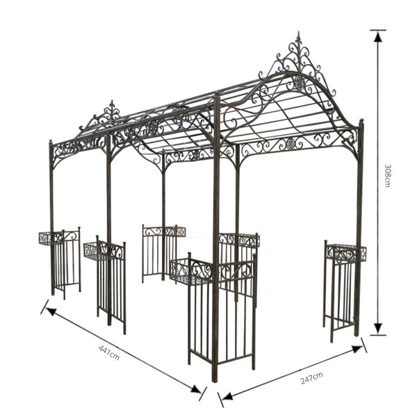 Outdoor Garden Arbour, Gazebo, Arch or walkway, 441cm x 247cm made in rusty finish.  Pictured with dimensions