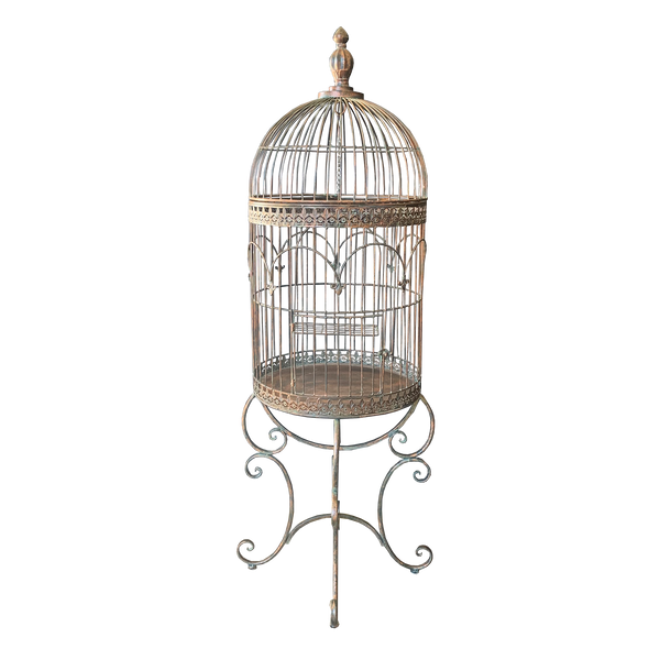 Birdcage Plant Holder Stand Display Ornamental Large in Antique Verdi Bronze