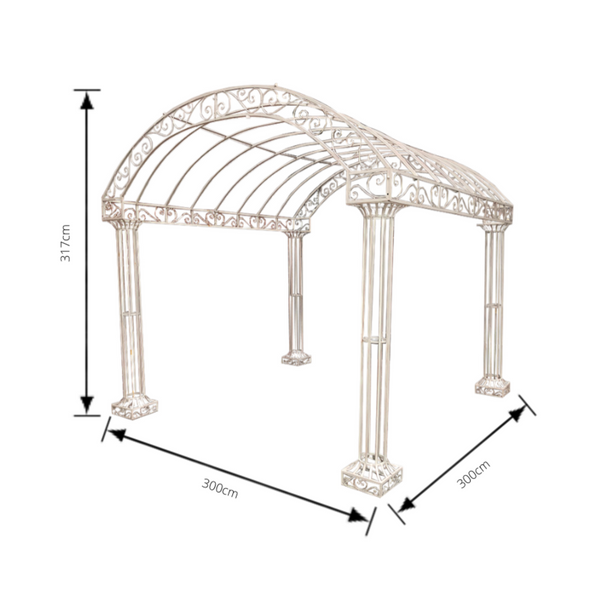Outdoor Garden Arbour, Gazebo, Arch 3m x 3m made in rusty finish. Pictured with dimensions