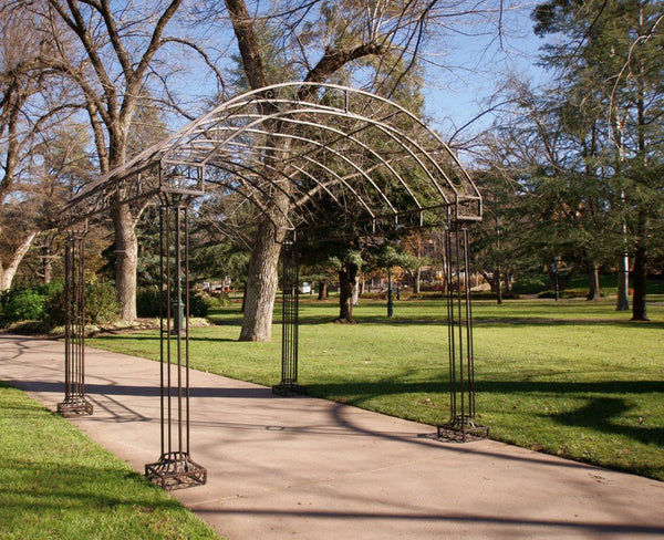 Outdoor Garden Arbour, Gazebo, Arch 3m x 3m made in rusty finish. Pictured in garden setting