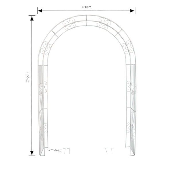 Wide metal garden arch in distressed cream with measurements
