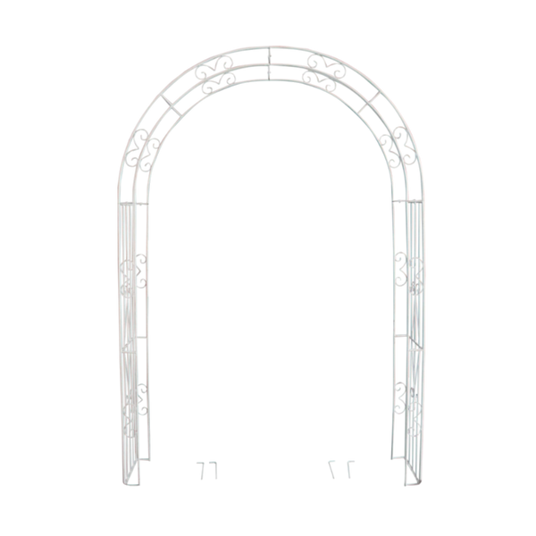 Wide metal garden arch in distressed cream