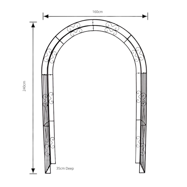 Wide metal garden arch in Rusty Brown with measurements
