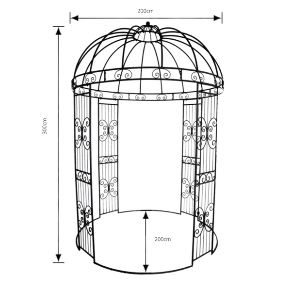 Outdoor Garden arbour, Gazebo. Round 2m x 2m x 3m, pictured with dimensions