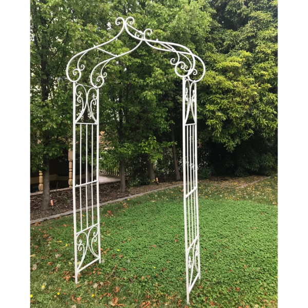 Decorative Metal Arch in Antique Cream in garden setting
