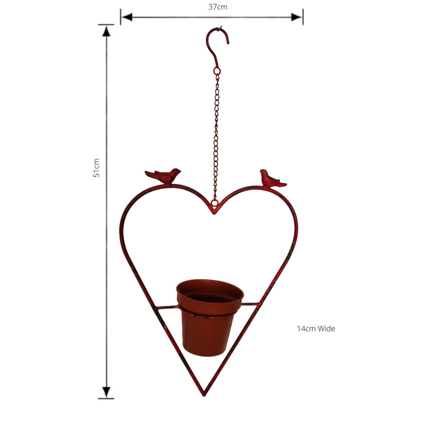 Heart Shaped Hanging Metal Pot Plant - Rustic Red with dimensions