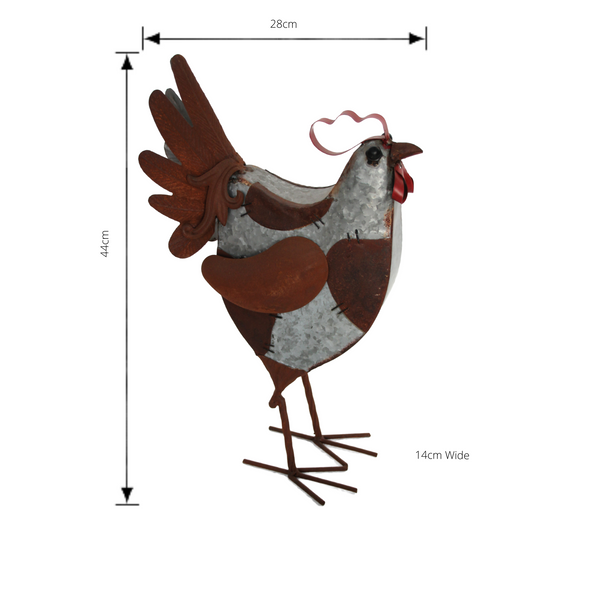 Metal Rooster Art Sculpture with Dimensions