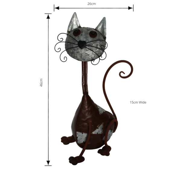 Cat Metal Art Sculpture with dimensions