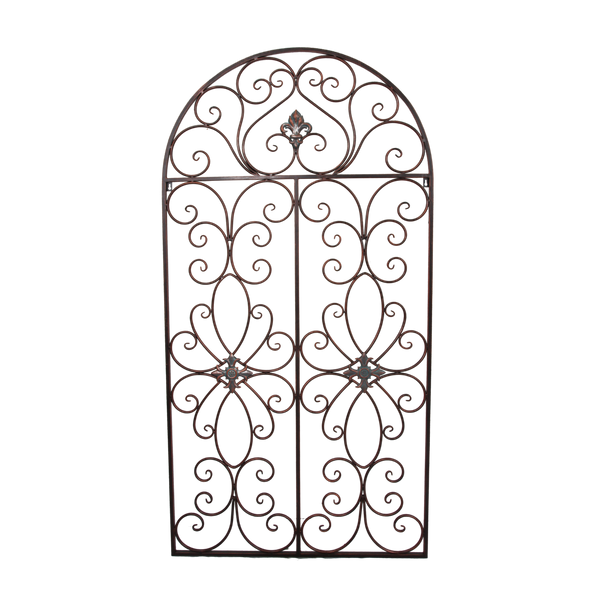 Wall Decor Metal Arched Rustic Brown